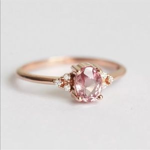 .925 Rose Gold Plated Pink Sapphire Ring CZ Stones